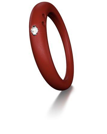 Duepunti Ring aus Silikon in rot mit einem Diamante DPR 3031