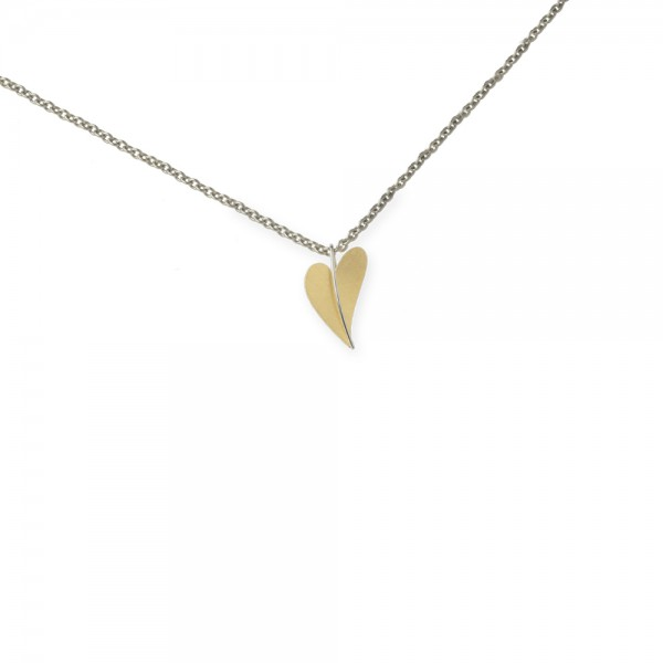 Ernstes Design Anhänger, kleines Herz aus Edelstahl teilvergoldet gelbgold AN277 ohne Kette