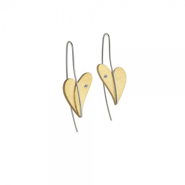 Herz Ohrhänger von Ernstes Design Edelstahl gelbgold mit Diamant, E262 geschwungenes Herz