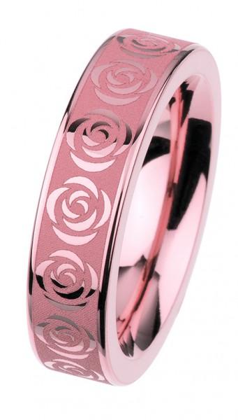 Ernstes Design Vorsteckring, Beisteckring, ED vita,Ring aus Edelstahl rosé Rosen / Blüten, 6mm R311