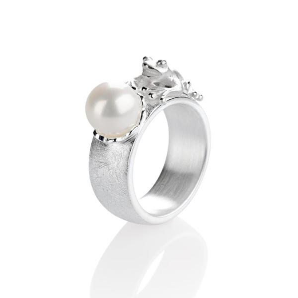 Drachernfels Ring Frosch mit Perle Silber D FR 14 Drachenfels Design Froschkönig Ring